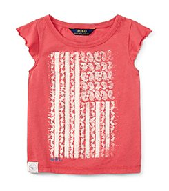 Polo Ralph Lauren® Girls' 2T-6X Flutter Sleeve Paisley Flag Graphic Tee
