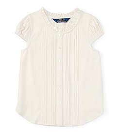 Polo Ralph Lauren® Girls' 2T-6X Short Sleeve Pleated Top