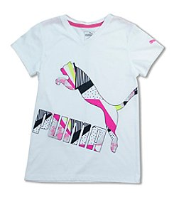 PUMA® Girls' 7-16 Short Sleeve Puma Cat Tee