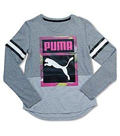 PUMA® Girls' 7-16 Long Sleeve Puma Cat Tee