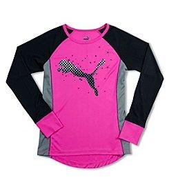 PUMA® Girls' 7-16 Long Sleeve Colorblock Puma Cat Tee