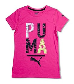 PUMA® Girls' 7-16 Short Sleeve Block Logo Tee