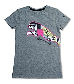 PUMA® Girls' 7-16 Short Sleeve Collage Puma Cat Tee
