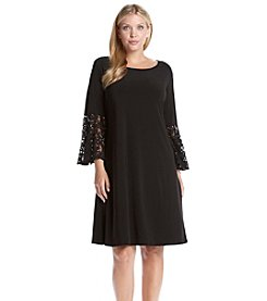 R&M Richards® Plus Size Lace Bell Sleeve Sheath Dress