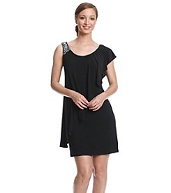 Betsy & Adam® One Sleeve Matte Jersey Short Dress