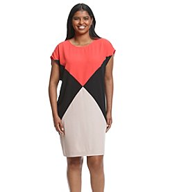 Calvin Klein Plus Size Color Block Shift Dress