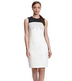Calvin Klein Embellished Neckline Dress