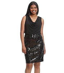 Calvin Klein Plus Size Scoop Neck Sequin Skirt Dress