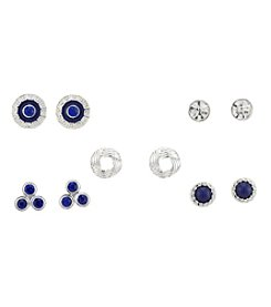 Studio Works® Set Of Five Silvertone Multi Stud Earrings