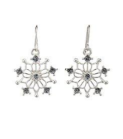 Studio Works® Silvertone Glitter Cutout Snowflake Drop Earrings