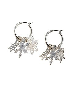 Studio Works® Silvertone Glitter Layered 3D Snowflake Hoop Earrings