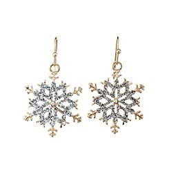 Studio Works® Two-Tone Glitter Snowflake Drop Earrings