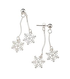 Studio Works® Silvertone Front Back Glitter Snowflake Drop Earrings