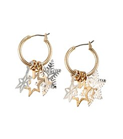 Studio Works® Two-Tone Layered 3D Snowflake Hoop Earrings