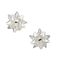 Studio Works® Silvertone Bow Button Post Earrings