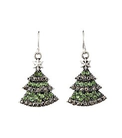 Studio Works® Silvertone And Faux Marcasite Tree Drop Earrings