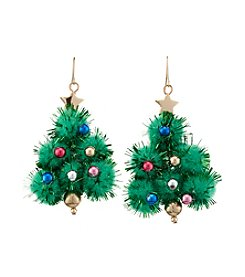 Studio Works® Goldtone Pompom Ornament Tree Drop Earrings