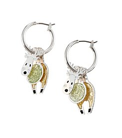 Studio Works® Two-Tone Layered 3D Reindeer Hoop Earrings