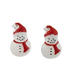 Studio Works® Silvertone Glitter Snowman Button Post Earrings