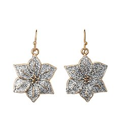 Studio Works® Two-Tone Glitter Poinsettia Drop Earrings