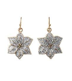 Studio Works® Two-Tone Glitter Poinsettia Drop Earrings