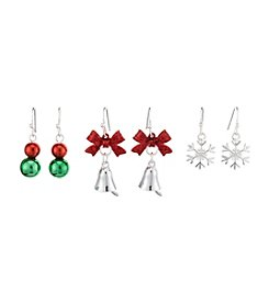 Studio Works® Three Pairs Of Silvertone Drop Earrings Snowflakes, Ornaments, Bells