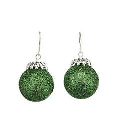 Studio Works® Silvertone Glitter Ornament Drop Earrings
