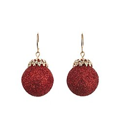 Studio Works® Goldtone Glitter Ornament Drop Earrings