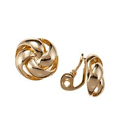 Napier® Goldtone Knot Clip Earrings