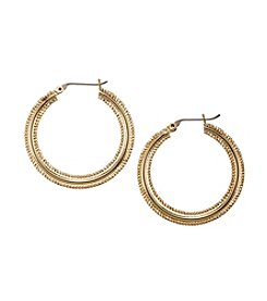 Napier® Goldtone Medium Textured Hoop Earrings
