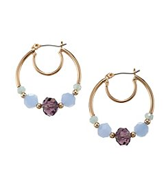Napier® Goldtone Purple And Green Bead Hoop Earrings