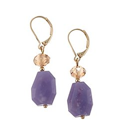 Napier® Goldtone Purple Drop Leverback Earrings