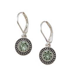 Napier® Silvertone Chrysolite Swarovski® Crystal Drop Earrings