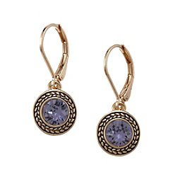 Napier® Goldtone Tanzanite Swarovski&treg; Crystal Drop Earrings