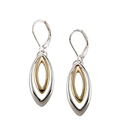 Napier® Two Tone Drop Leverback Earrings