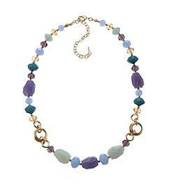 Napier® Goldtone Purple, Blue And Green Beaded Collar Necklace
