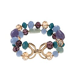 Napier® Goldtone Purple Two Row Stretch Bracelet