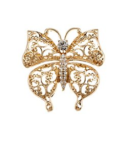 Napier® Boxed Goldtone And Simulated Crystal Butterfly Pin