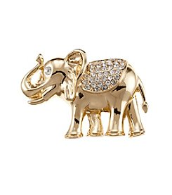 Napier® Boxed Goldtone And Crystal Elephant Pin