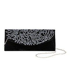 La Regale® Beaded Scroll Velvet Flap Clutch