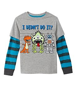 Mix & Match Boys' 4-7 Layered Monster Line-Up Skater Tee