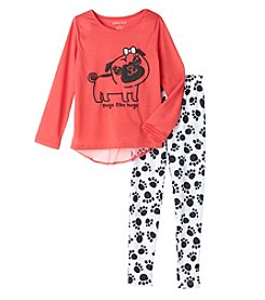 Komar Kids® Girls' 4-12 2-Piece Pugs Love Hugs Pajama Set