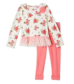 Nannette® Girls' 2T-4T 2-Piece Floral Tunic And Legggings Set
