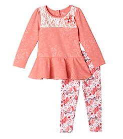 Nannette® Girls' 2T-4T 2-Piece Peplum Top And Floral Leggings Set