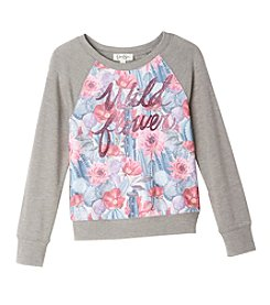 Jessica Simpson Girls' 7-16 Long Sleeve Ariel Wildflower Top