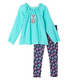 Nannette® Girls' 2T-4T 2-Piece Peasant Top And Floral Leggings Set