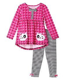 Nannette® Girls' 2T-4T 2-Piece Kitty Tunic And Leggings Set