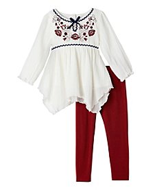 Nannette® Girls' 2T-4T 2-Piece Peasant Top And Leggings Set