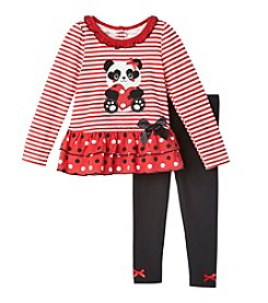 Nannette® Girls' 4-6X 2-Piece Panda Peplum Top And Leggings Set