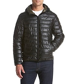 Levi's® Men's Faux Leather Quilted Hooded Puffer Jacket
